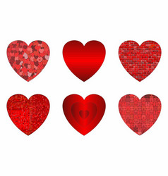 Abstract grunge hearts set vector
