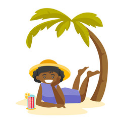 african woman lying on the beach under the palm vector image