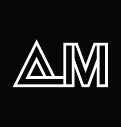 Am logo monogram with line style negative space vector