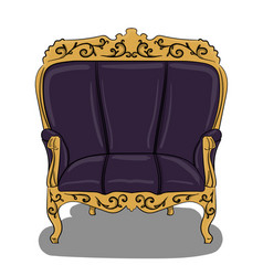 an armchair with a dark blue upholstery and yellow vector image