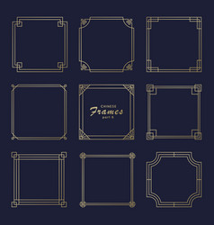 asian square frame set in vintage style vector image