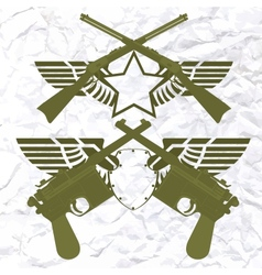 Badges with wings and small arms vector