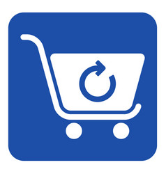 Blue white sign - shopping cart refresh icon vector