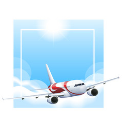 Border template with airplane flying in sky vector