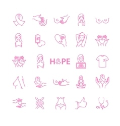 Breast cancer icons stock vector