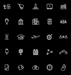 Business connection line icons on black background vector image