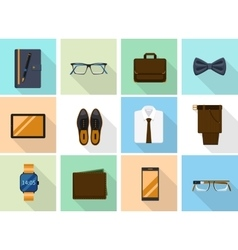 Businessman clothes and gadgets icons in flat vector image