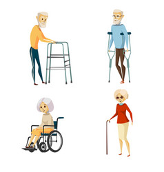 Cartoon disabled senior people set vector