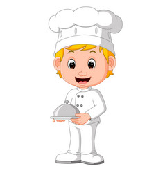 cartoon funny chef holding a silver platter vector image