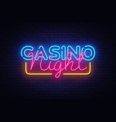 casino night neon sign design template vector image