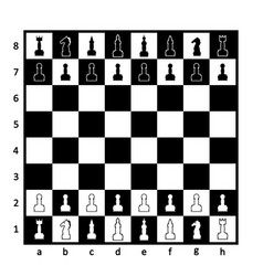 chess board with chess pieces on white background vector image