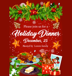 Christmas dinner invitation for xmas party design vector