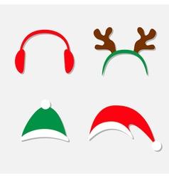 christmas hat set antlers a deer red headphones vector image