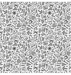 christmas pattern black line style vector image