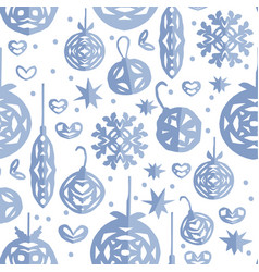 christmas seamless pattern paper craft design vector image