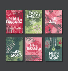 collection six colorful christmas cards vector image