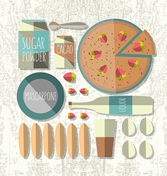 colorful of flat design style tiramisu recip vector image