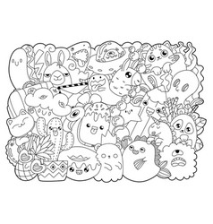 coloring bookcute cartoons in kawaii style vector image
