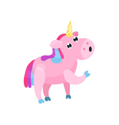 cute cartoon pink unicorn with multicolored mane vector image