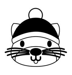 Cute cat with warm hat christmas vector