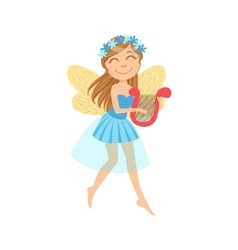 Cute Fairy With Lira Girly Cartoon Character vector image