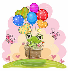 Cute frog with balloons vector
