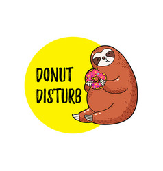 cute funny cartoon sloth vector image