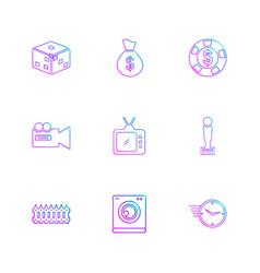 Dice coins money camera eps icon set vector