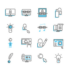 digital copyright outline icon collection set vector image