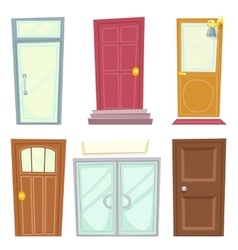 Doors Icons Set House Cartoon Design Isolated vector