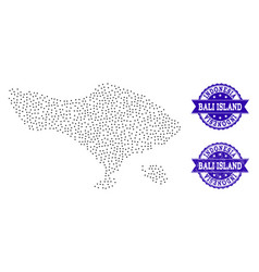 Dotted map of bali island and textured stamp vector