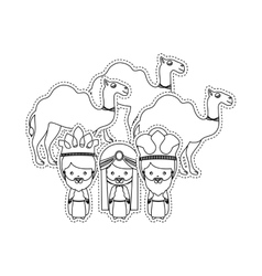 Dotted sticker the wise men and camels vector