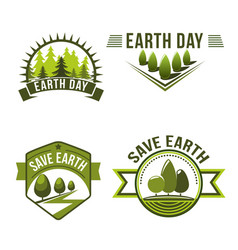 Earth day save planet ecology symbol set vector