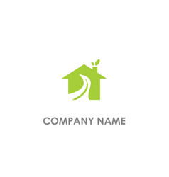 eco leaf house environment logo vector image