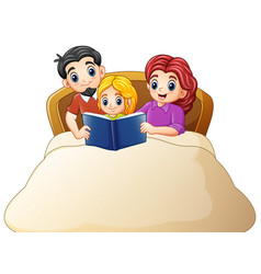 Family reading a book to daughter on bed on a whit vector