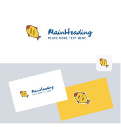 fish logotype with business card template elegant vector image