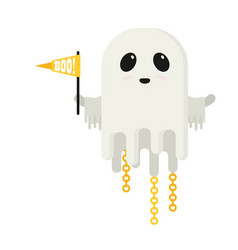 flat ghost with flag isolated on white background vector image