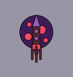 Flat icon design collection rocket and moon vector