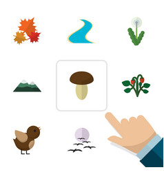 Flat icon nature set of peak bird berry and vector