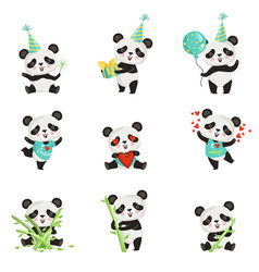 flat set of funny little panda in various vector image