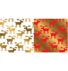 geometric deer silhouette xmas repeatable pattern vector image