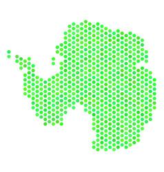green hexagonal antarctica map vector image