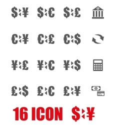 grey bank icon set vector image