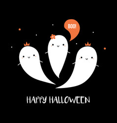 halloween card with cute ghost characters vector image