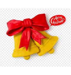 hand made plasticine figure of christmas bells vector image