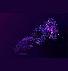 hand touching cogwheels low poly vector image