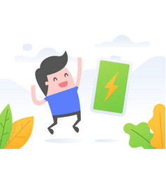 Happy and full energy businessman vector