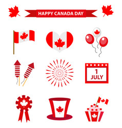 happy canada day icons set design elements flat vector image