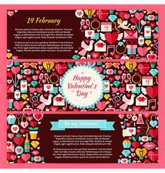 Happy Valentine Day Horizontal Banners Flat Set vector