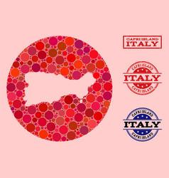 Hole round map capri island mosaic and grunge vector